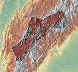 The Altiplano Cundiboyacense with valley subdivisions; the living space of the Muisca