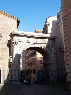 The Arch of Gallienus is one of the few monuments of ancient Rome from the 3rd century, and was a gate in the Servian Wall. Two side gates were destroyed in 1447.