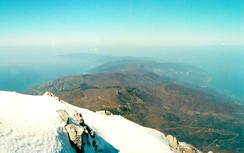The peninsula as seen from the summit of Mount Athos (40°9′28″N 24°19′36″E / 40.15778°N 24.32667°E / 40.15778; 24.32667)