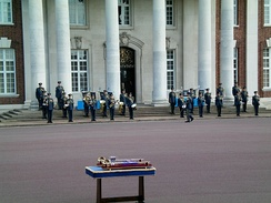 The band prepares for a graduation parade at College Hall