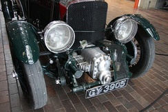 "Front of a ""Blower Bentley"", showing the supercharger in front of the grille"