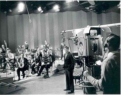 Bernstein with members of the New York Philharmonic rehearsing for a television broadcast
