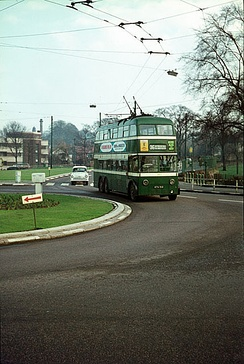 Trolleybus sweeps round the roundabout at the junction of Gregory Boulevard and Sherwood Rise in October 1965