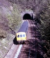 A train entering Thurstonland rail tunnel in the 1970s