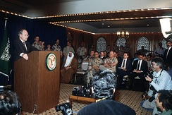 Secretary of Defense Cheney during a press conference on the Gulf War