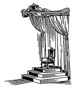 A drawing of a dais with throne under a baldachin