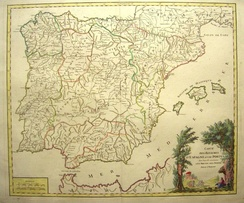 Map of the Iberian peninsula dated 1770. The Kingdoms of Jaén, Córdoba and Seville are collectively referred to under the name Andalucía, while the Kingdom of Granada appears under its individual name.