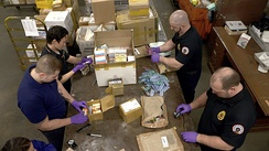 The Food and Drug Administration inspects packages for illegal drug shipments