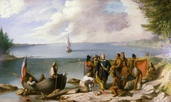 William Allen Wall's depiction Wampanoag people meeting Bartholomew Gosnold and his crew upon their arrival in New Bedford in 1602