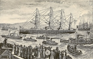 Grant returns to the United States, at San Francisco, 1879, aboard the City of Tokyo