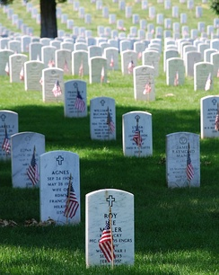 Flags decorate the graves at Arlington National Cemetery on Memorial Day