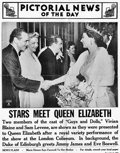 Vivian Blaine and Sam Levene meet Queen Elizabeth after Royal Command Variety Performance of Guys and Dolls November 2, 1953