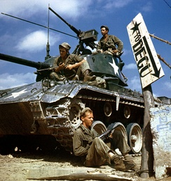 Crew of an M-24 tank along the Nakdong River front, August 1950