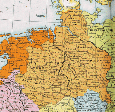 Map 13: Old Saxony. The later stem duchy of Saxony (circa 1000 AD), which was based in the Saxons' traditional homeland bounded by the rivers Ems, Eider and Elbe. Saxon tribes (after later Saxon expansion) and their lands are also shown.