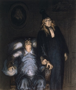 The Imaginary Invalid, drawing by Honoré Daumier, c. 1857.