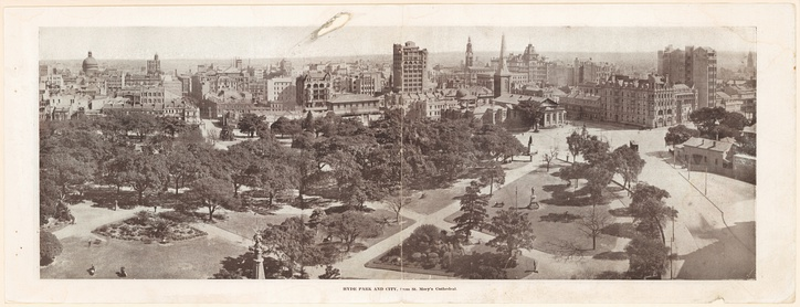 Hyde Park and the city skyline, viewed from St Mary's Cathedral, taken around 1915.