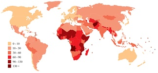 World map indicating infant mortality rates per 1000 births in 2006.[11]