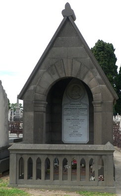 John Fawkner's bluestone grave at Melbourne General Cemetery.