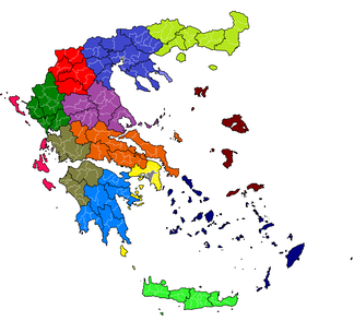 "Administrative division of Greece following the ""Kallikratis"" reform: each colour denotes a region, regional units are outlined in black, and municipalities in white"