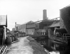 Kilbeggan Distillery, pictured here c. 1905 was just one of many Irish distilleries which closed in the 20th century.