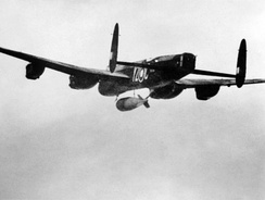 A 617 Squadron Lancaster dropping a Grand Slam bomb on the Arnsberg viaduct, March 1945.