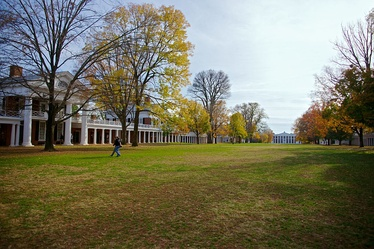 Today's view of the Lawn, looking south toward Old Cabell Hall; the East Lawn is to the left.