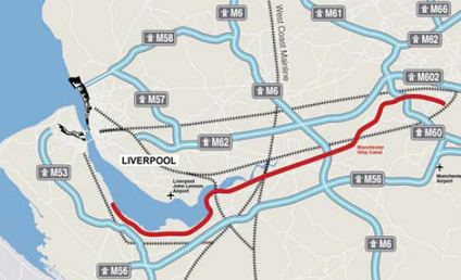 Motorways of Liverpool City Region and Cheshire to Manchester