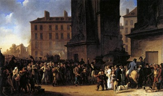 Painting depicting the Departure of the Conscripts of 1807 by Louis-Léopold Boilly