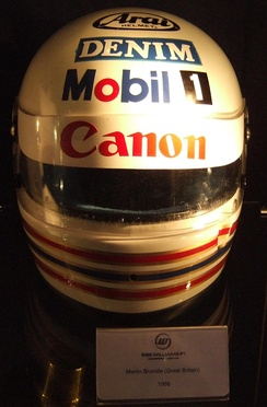Brundle's helmet on display in the Williams team's museum.