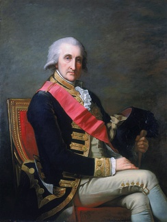 Admiral Lord Rodney (appointed a Knight Companion in 1780) wearing the riband and star of the Order