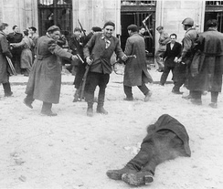 Mobs killing a communist supporter during the Hungarian Revolution of 1956