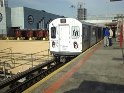 An R142 subway train in a special livery for the 2000 Subway Series