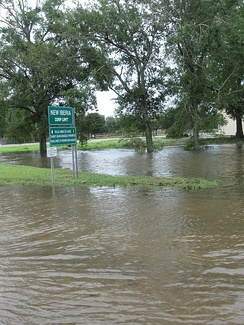 Flooding in front of a sign in New Iberia, Louisiana.