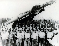 North Vietnamese SAM crew in front of SA-2 launcher. The Soviet Union provided North Vietnam with considerable anti-air defence around installations.