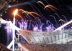 The Olympic Flame at the opening ceremony
