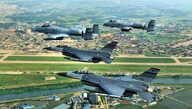 Osan Air Base, an air base shared by United States Air Force and Republic of Korea Air Force in South Korea.