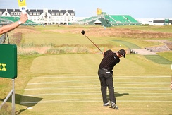 Pádraig Harrington teeing off at the Open Championship (golf) in 2007.