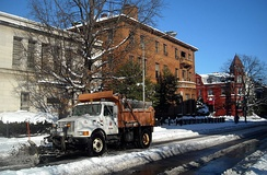 A DDOT snowplow in Dupont Circle, following the 2009 North American blizzard.