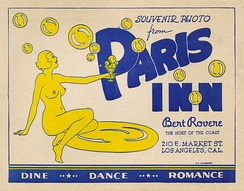 Paris Inn souvenir, circa 1947. A well-known LA night club from 1924 to 1950; popular guests included Charlie Chaplin and Clara Bow.[108]