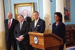 Secretary Condoleezza Rice with (left to right): Tom Pickering, John Engler and John Breaux at the presentation of Final Report of the Secretary's Advisory Committee on Transformational Diplomacy