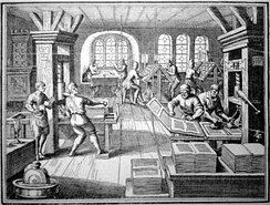 A sixteenth century workshop in Germany showing a printing press and many of the activities involved in the process of printing