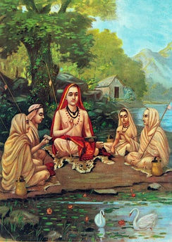 Adi Shankara with Disciples, by Raja Ravi Varma (1904); Shankara published 700 verses of the Gita (800 CE), now the standard version.