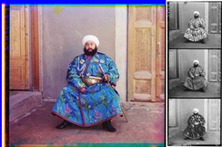 The Emir of Bukhara, Alim Khan, in a 1911 color photograph by Sergey Prokudin-Gorsky. At right is the triple color-filtered black-and-white glass plate negative, shown here as a positive.