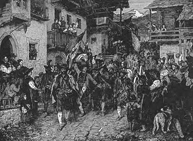 Black and white engraving showing armed soldiers and peasants walking through the streets