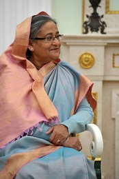 Bangladeshi Prime Minister Sheikh Hasina in a Rajshahi silk sari at the Moscow Kremlin in 2013.