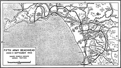 Map of the Salerno beachhead at the end of 11 September 1943.