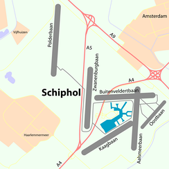 Map showing the six runways of Schiphol