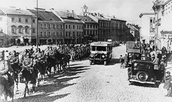 Red Army enters the provincial capital of Wilno during the Soviet invasion, 19 September 1939
