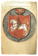 The first page of the Latin copy of Laurentius (1531) of the First Statute of Lithuania. Vytis (Pahonia) is drawn on a damasked shield.