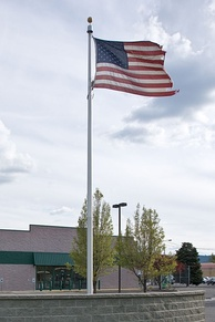 A tattered flag at Spokane Valley Police Headquarters, Spokane, Washington